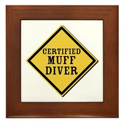 Certified Muff Diver Framed Tile