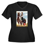 Mounted Shriner Women's Plus Size V-Neck Dark T-Sh