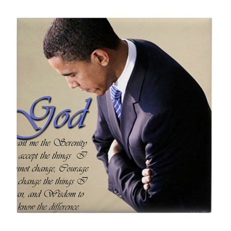 Obama Praying Tile Coaster