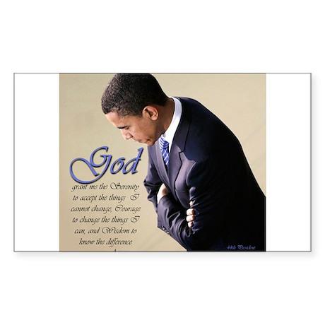 Obama Praying Rectangle Sticker
