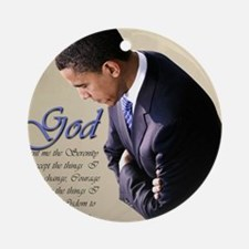 Obama Praying Ornament (Round)