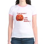 Funny Free Broom Halloween Jr. Ringer T-Shirt