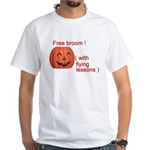 Funny Free Broom Halloween White T-Shirt