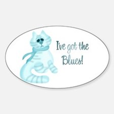 Blues Kitty Oval Decal