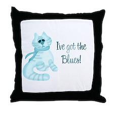 Blues Kitty Throw Pillow