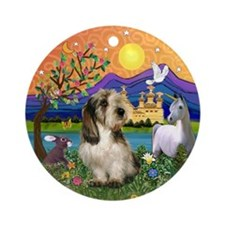 PBGV in Fantasy Land Ornament (Round)