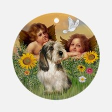 Angels and PBGV Ornament (Round)