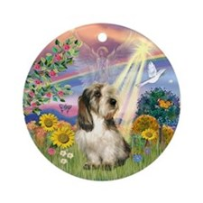 Cloud Angel PBGV Ornament (Round)
