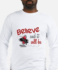 Believe 1 Butterfly 2 MELANOMA Long Sleeve T-Shirt