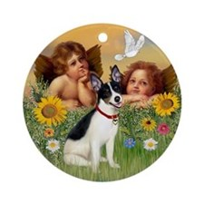Angels and Rat Terrier Ornament (Round)