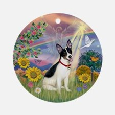 Cloud Angel and Rat Terrier Ornament (Round)