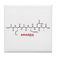 Amanda name molecule Tile Coaster
