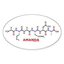 Amanda name molecule Oval Decal