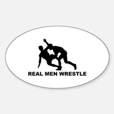 Real Men Wrestle Oval Decal