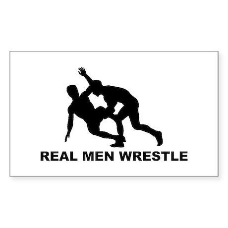 Real Men Wrestle Rectangle Sticker