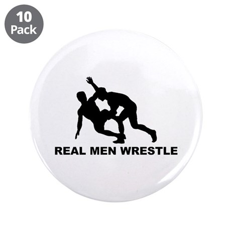 "Real Men Wrestle 3.5"" Button (10 pack)"