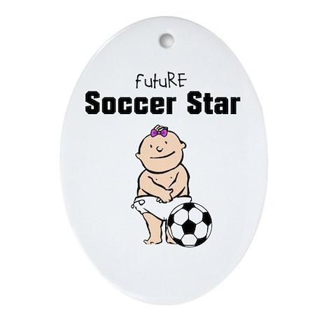 Future Soccer Star Girl Ceramic Ornament