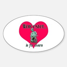 Turtleboy Worcester is for Lovers Oval Decal