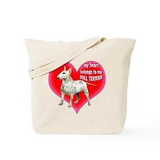 My Heart belongs to my bull terrier Tote Bag