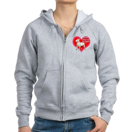 My Heart belongs to my bull terrier Women's Zip Ho