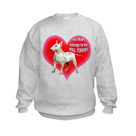 My Heart belongs to my bull terrier Kids Sweatshir