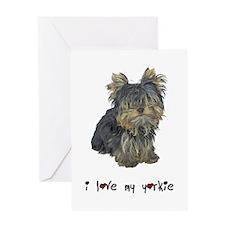 I Love My Yorkie Greeting Card
