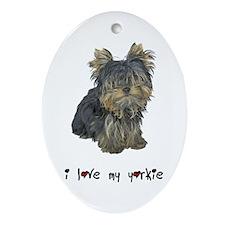 I Love My Yorkie Oval Ornament