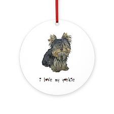 I Love My Yorkie Ornament (Round)