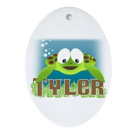 Adorable Tyler Turtle Oval Ornament