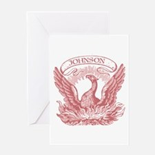Johnson Vintage Eagle Last Name Greeting Card