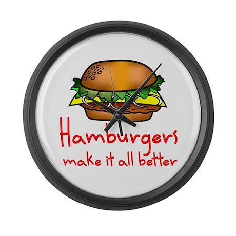 Hamburgers Large Wall Clock