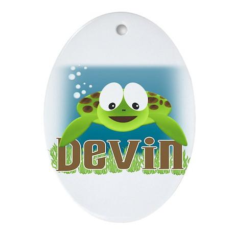 Adorable Devin Turtle Oval Ornament
