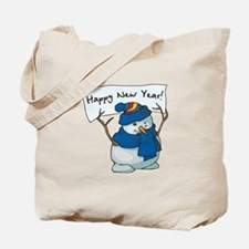 Happy New Years Snowman Tote Bag