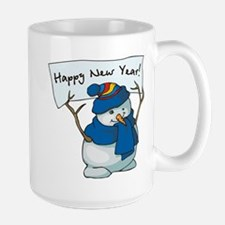 Happy New Years Snowman Large Mug