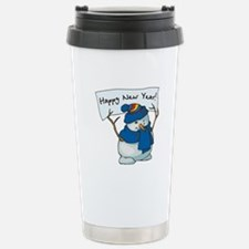 Happy New Years Snowman Travel Mug