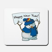 Happy New Years Snowman Mousepad