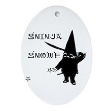 Gninja Gnomes Oval Ornament