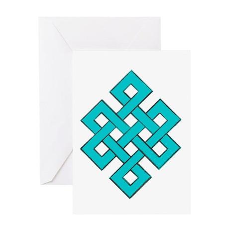 Turquoise Tibetan Endless Knot Greeting Card