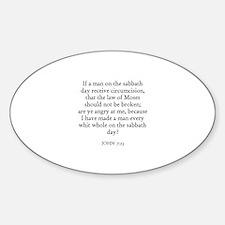 JOHN 7:23 Oval Decal