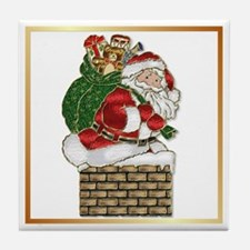 Stained Glass Santa Claus Tile Coaster