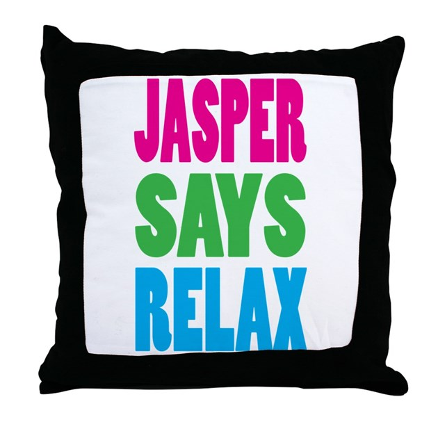 Jasper Says Relax (Color) Throw Pillow by room140west