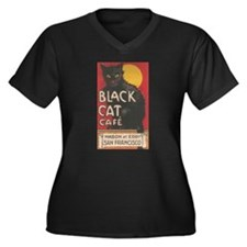 San Francisco Black Cat Cafe Women's Plus Size V-N