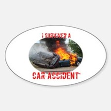 I Survived A Car Accident Oval Decal
