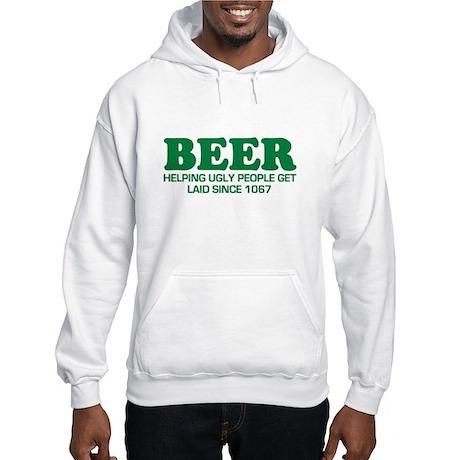 FUNNY BEER SHIRT HELPING UGLY Hooded Sweatshirt