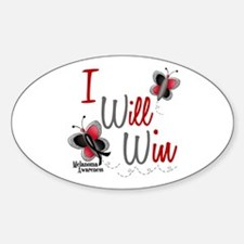 I Will Win 1 Butterfly 2 MELANOMA Oval Decal
