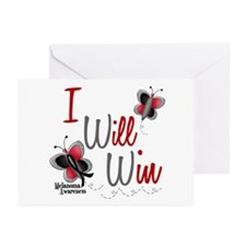 I Will Win 1 Butterfly 2 MELANOMA Greeting Cards (