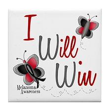 I Will Win 1 Butterfly 2 MELANOMA Tile Coaster