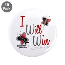 "I Will Win 1 Butterfly 2 MELANOMA 3.5"" Button (10"