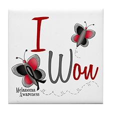 I Won 1 Butterfly 2 MELANOMA Tile Coaster