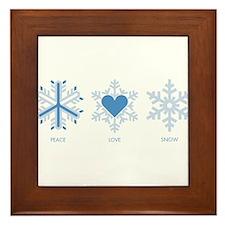 Peace Love Snow Framed Tile